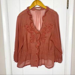 Soft Surroundings Rose sheer burton lace top Large